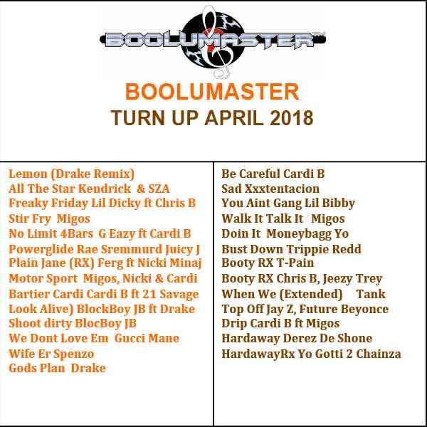 Turn up April 2018 playlist